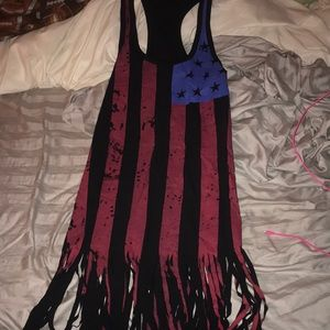 American flag cover up with fringe bottom